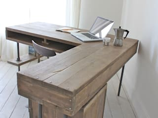 Reclaimed Scaffolding Board Industrial Chic Corner L-Shaped Desk with Built In Storage and Steel Legs - Matching Filing Cabinet Optional Ask a Question homify EstudioEscritorios