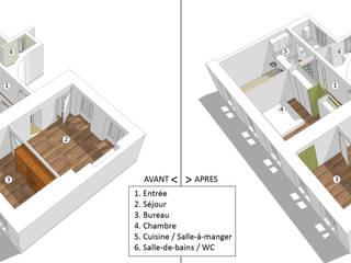 Avant/Après: Rénovation d'un appartement à Paris Maisons minimalistes par Emilie Marx Minimaliste