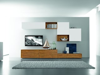 FGF MOBILI WOHNWAND C30B: minimalistische Wohnzimmer von homify