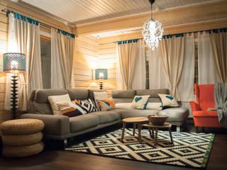 Гостиная в доме из клееного бруса:  в . Автор – design-family,