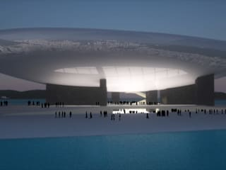 Vue de nuit: Palais des congrès de style  par Wen Qian ZHU Architecture