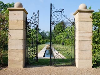 Bespoke Garden entrance gate designed by customer and painted black:   by F E PHILCOX LTD