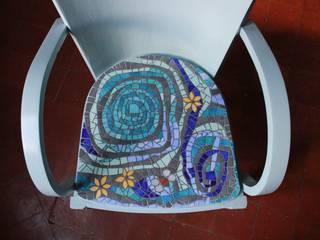 Fauteuil bridge assise mosaïque par Mosa-Louisa Éclectique