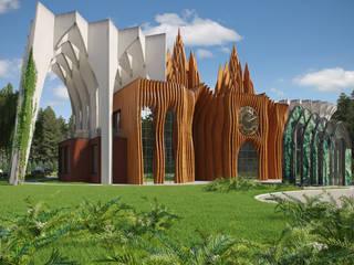 Банкетный зал в Балашихе Дома в тропическом стиле от Архитектурное бюро и дизайн студия 'Линия 8' Тропический