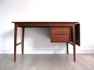 1960s Danish teak drop leaf desk with sliding cabinet by Svend Å Madsen for Sigurd Hansen:   by Funky Junky