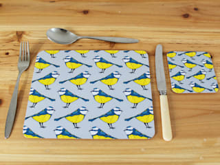 Bold Blue Tit Placemats and Coasters.:   by martha and hepsie ltd