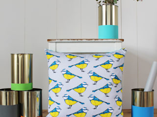 Bold Blue Tit Cushion:  Living room by martha and hepsie ltd