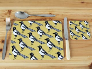 Mischievous Magpie Placemats and Coasters:   by martha and hepsie ltd