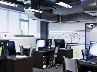 Урбанистичный дизайн офиса: Рабочие кабинеты в . Автор – Студия дизайна Interior Design IDEAS