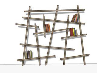 Bibliothèque design en tasseau de chêne par Bibliotek.fr Moderne