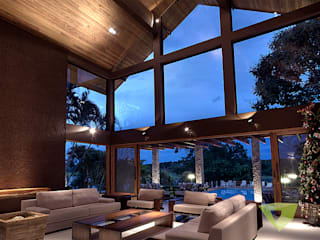 Olaa Arquitetos Country style living room