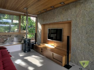 Olaa Arquitetos Rustic style media room