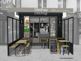 Libshop - l'entrée du restaurant: Restaurants de style  par Est Ouest Architecte