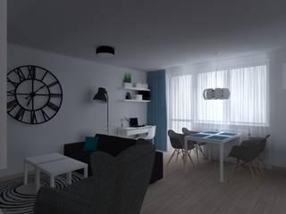 mieszkanie w Kwidzynie Skandynawski salon od ap. studio architektoniczne Aurelia Palczewska Skandynawski