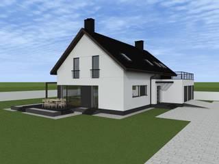 minimalistyczna elewacja w Nowym Dworze Gdańskim Minimalistyczne domowe biuro i gabinet od ap. studio architektoniczne Aurelia Palczewska Minimalistyczny