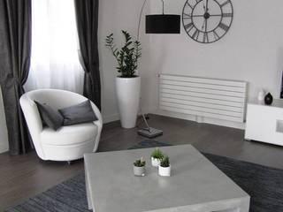 """Table de salon en béton ciré """"Flanelle"""":  de style  par CATHERINE PENDANX"""