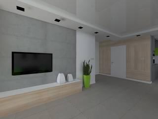 dom w Mikołajkach Pomorskich Nowoczesny korytarz, przedpokój i schody od ap. studio architektoniczne Aurelia Palczewska Nowoczesny