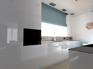 salon w Nowym Dworze Nowoczesna kuchnia od ap. studio architektoniczne Aurelia Palczewska Nowoczesny