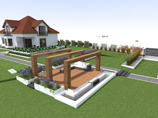 ogród w Mławie Nowoczesny ogród od ap. studio architektoniczne Aurelia Palczewska Nowoczesny