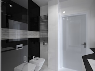 nowoczesne mieszkanie w Iławie Nowoczesna łazienka od ap. studio architektoniczne Aurelia Palczewska Nowoczesny