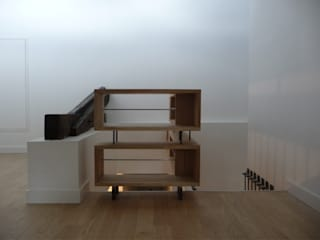 Rénovation/Surélévation d'une échoppe Couloir, entrée, escaliers modernes par EIRL Hugues DRAPEAU Architecte Moderne