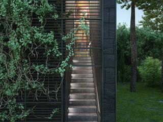 Pasillos, vestíbulos y escaleras de estilo minimalista de Архитектурное бюро и дизайн студия 'Линия 8' Minimalista