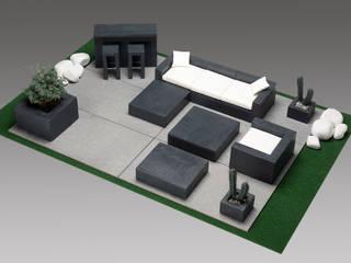 Table BARI, avec Cheminée à l'éthanol par INTERIEUR EXTERIEUR Moderne