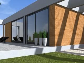 nowoczesny ogród w Olsztynie Minimalistyczny balkon, taras i weranda od ap. studio architektoniczne Aurelia Palczewska Minimalistyczny
