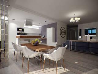 Квартира с включением лоджии в жилое пространство Столовая комната в стиле модерн от Makhrova Svetlana Модерн