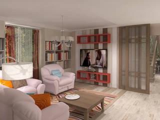 Проект загородного дома в стиле эклектика Гостиные в эклектичном стиле от Частный дизайнер Мария Куреннова Эклектичный