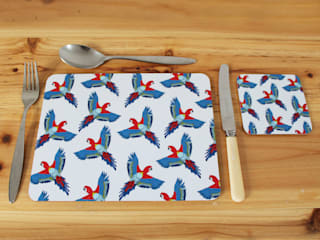 Majestic Macaw Placemats and Coasters:   by martha and hepsie ltd