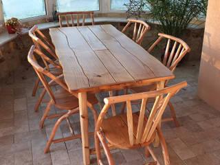 Ensemble table et fauteuils Chaman Création CHâtaignier:  de style  par Création Châtaignier