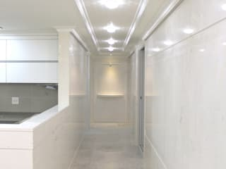 "New concept natural marble flooring ""NEW EASYSTONE"" Modern corridor, hallway & stairs by (주)이지테크(EASYTECH Inc.) Modern"