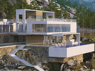 Проект дома на скале Дома в стиле минимализм от Студия авторского дизайна БОН ТОН Минимализм
