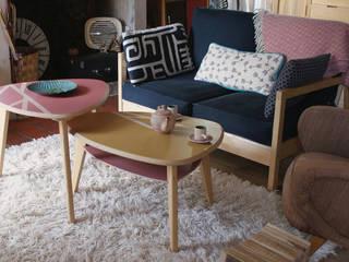 """Tables basses """"Gigognes"""" personnalisées couleurs Moutarde et Nacarat:  de style  par Atelier Recycl'et Bois"""