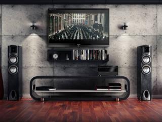 TV Wandverkleidung in Betonoptik:  Multimedia-Raum von Loft Design System Deutschland - Wandpaneele aus Bayern