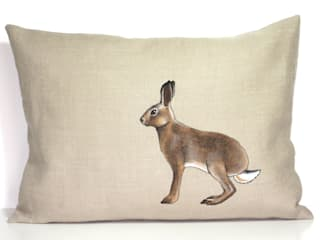Hand Painted and Embroidered Hare Cushion:   by Lottie's Cottage