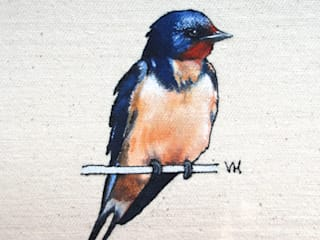 Small Bird Series - Embroidered and Painted Birds : country  by Lottie's Cottage, Country