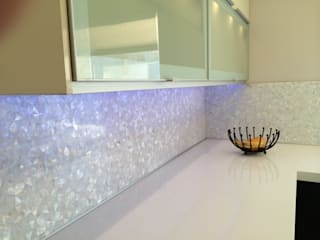 Pure White Freshwater Mother of Pearl in Crazy Pattern Panels.:  Bathroom by ShellShock Designs