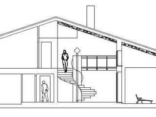 Sezione sul soggiorno a doppia altezza:  in stile  di massimo spagnolo architetto