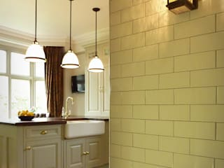 Cream brick tiles with Bingham light:   by The Victorian Emporium