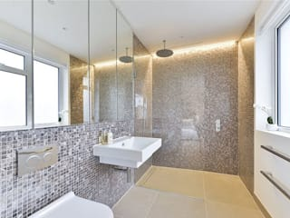 Dyed and pure white hexagon freshwater Mother of Pearl mosaics used by Investre Modern bathroom by ShellShock Designs Modern