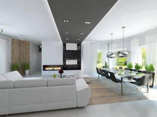 Projekt domu w stylu nowoczesnym Nowoczesny salon od iProjektowanieWnętrz Nowoczesny