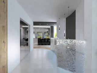 Projekt domu w stylu nowoczesnym Nowoczesny korytarz, przedpokój i schody od iProjektowanieWnętrz Nowoczesny