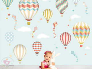 Deluxe Hot Air Balloons Luxury Nursery Wall Art Sticker Designs par Enchanted Interiors Moderne