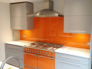 Orange Glass Kitchen Splash Back:   by UK Splashbacks