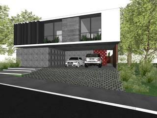モダンデザインの ガレージ・物置 の ZAAV Arquitetura モダン