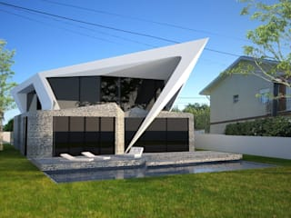 PT - Perspectiva Noroeste EN - Northwest Perspective FR - Perspective Nord-ouest: Casas  por Office of Feeling Architecture, Lda