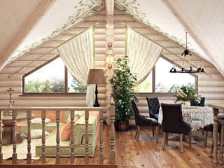 Интерьер деревянного дома: Гостиная в . Автор – студия визуализации и дизайна интерьера '3dm2', Кантри