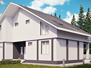 Уютный двухэтажный коттедж: Дома в . Автор – студия визуализации и дизайна интерьера '3dm2', Минимализм
